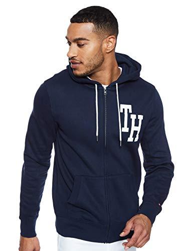 Tommy Hilfiger Herren Hilfiger Hooded Zip Through Sweatshirt, Blau (Sky Captain 403), X-Large