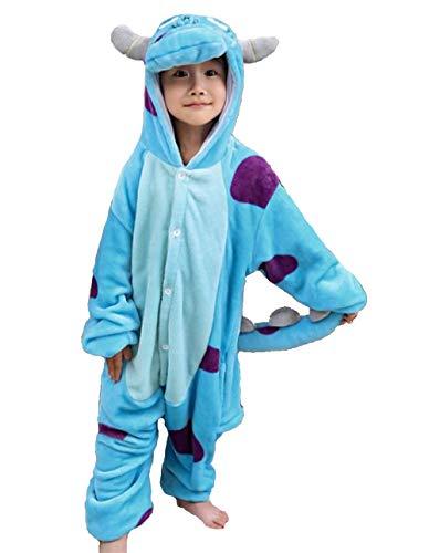Pijama Kigurumi Disfraz Animal de Niños Unisex para Carnaval, Halloween, Fiesta Cosplay Sullivan 6-7 Años