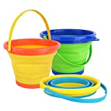 Zooawa Beach Bucket Sand Toy, Kids Foldable Sand Bucket Expandable Sand Pail Square for Beach Multi-Purpose, [3 Pack] Collapsible Silicone Bucket, 2.5 Liter/0.66 Gallon - Colorful