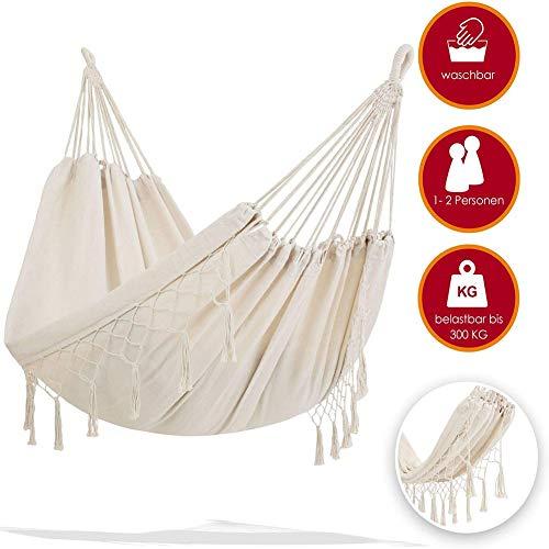 Handmade Boho Large Brazilian Macrame Fringe 2 Person Double Deluxe Hammock Swing Net Chair for Beach, Yard, Bedroom, Patio, Porch, Indoor, Outdoor, Wedding Decor,240 * 150cm