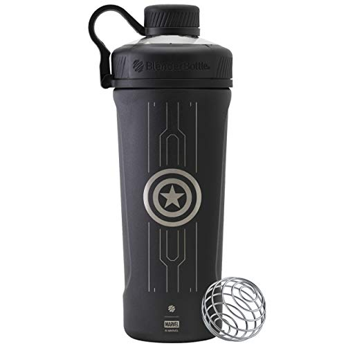 BlenderBottle Marvel Radian Shaker Cup Insulated Stainless Steel Water Bottle with Wire Whisk, Valentines Day Gifts for Him, 26-Ounce, Captain America