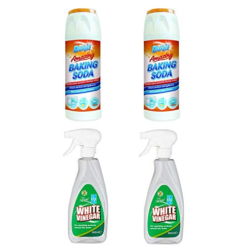 Duzzit White Vinegar & Soda For Cleaning - 2 x Baking Soda 2 x White Vinegar Spray For Cleaning