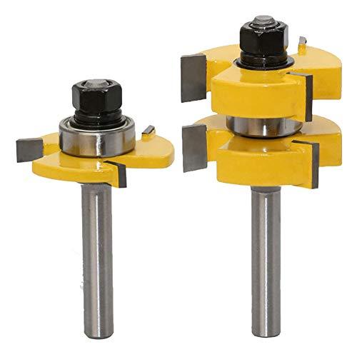 2 Stück Groove und Tongue Zunge und Nut Set Router Bit Set, 8 mm Schaft, Oberfräse Fräser Set für DIY CNC Graviermaschine Trimmmaschine Holzbearbeitung