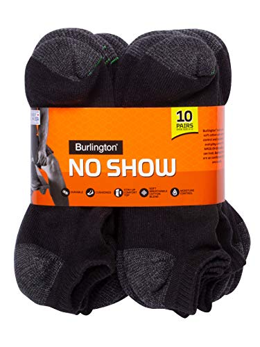 Burlington Comfort Power Men's No Show Sock, Black, 10-13