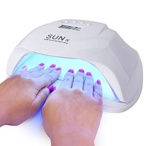 VKOSHA Lámpara de uñas LED 54W Secador de uñas UV Lámpara de gel de uñas de luz 4 ajustes de temporizador Sensor automático Lámpara de curado Lámpara de secado de uñas de gel profesional
