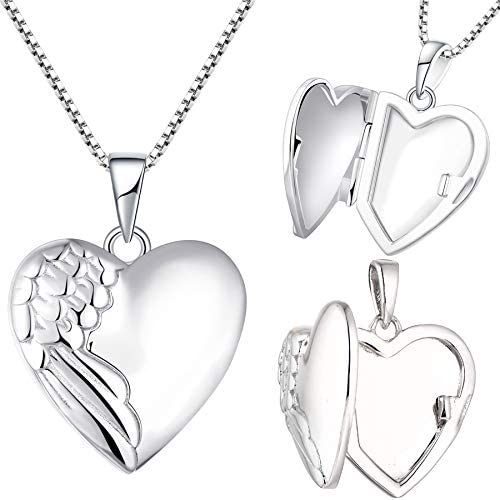 YL Heart Locket Picture Necklace 925 Sterling Silver Personalized Angel Wings Photo Lockets product image
