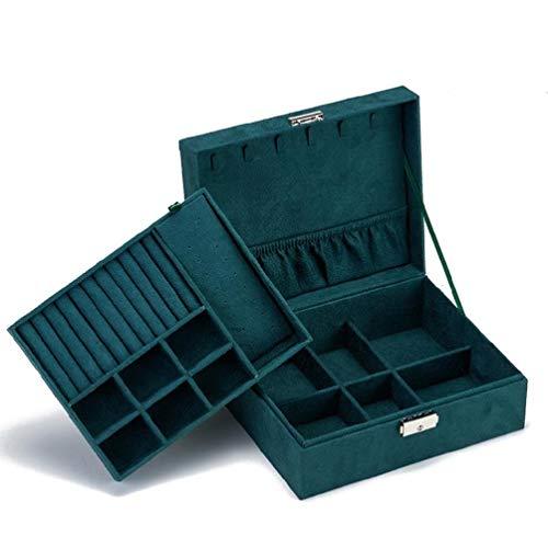 Caja organizadora de joyas de 2 capas de piel con bandeja extraíble para pendientes, anillos, collares, pulseras, relojes.