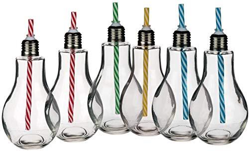 CREOFANT Juego de 6 vasos transparentes con pajitas en forma de bombilla,...