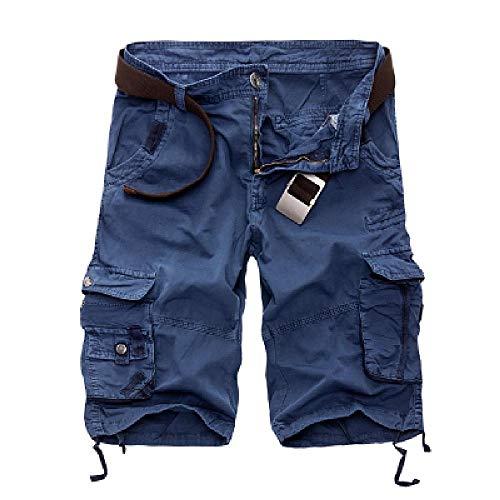 Pantalones cortos para hombre, diseño de camuflaje militar, bermudas, verano, camuflaje, pantalones cortos para hombre, de algodón, holgados azul 38W