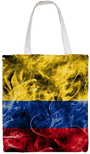 Colombia Smoke Flag Shoulder Bag Canvas Tote Bag, Reusable Grocery Shopping Cloth Bags, Double-sided Printing Tote Handbags