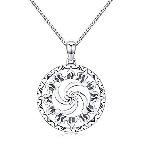 collar de Mujer pequeña joyería Colgante Sra Amuleto Hombres Familia en el símbolo del Sol