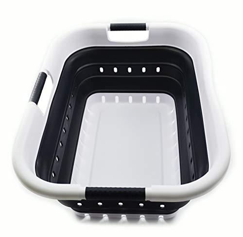 SAMMART Cesta plegable de plástico con 3 asas – Contenedor de almacenamiento plegable plegable – Bañera de lavado portátil – Cesta de ahorro de espacio (3 asas rectangular, blanco/negro)