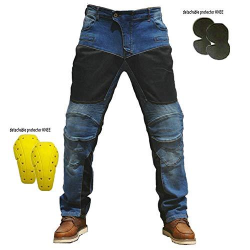 Herrens Atmungsaktiv Motorradhose, Slim Fit Jeanshose, Bikerhose, Motorradjeans Jeans mit 4 Protektoren (Knieprotektoren),Blau,L
