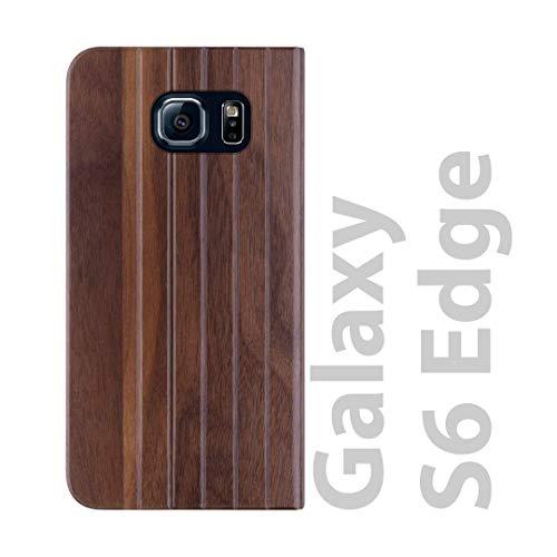 iATO Samsung Galaxy S6 Edge Book Type Case - Real Walnut Wood Grain Premium Protective Shockproof Folio Flip Cover - Unique, & Classy Front & Back Bumper Accessory Designed for Samsung Galaxy S6 Edge