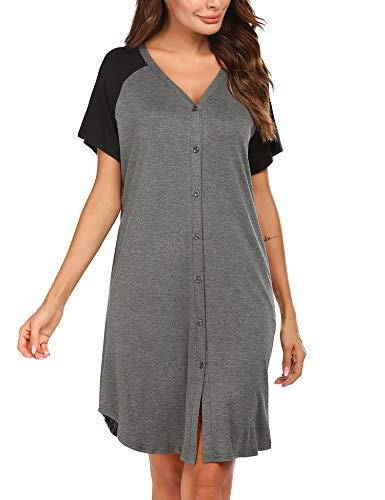 ADOME Nachthemd Damen Kurzarm Schlafshirt Nachtkleid Stillnachthemd Schwangerschaft umstandsnachthemd Nachtwäsche Kurz Umstandsmode mit Durchgehender Knopfleiste geburtshemd für Schwangere Grau L