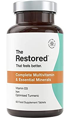Multivitamin Tablets, High Strength Vitamin C, D, Zinc, Iron, Ginger and Turmeric. for Men and Women, Vegan - 60 Days