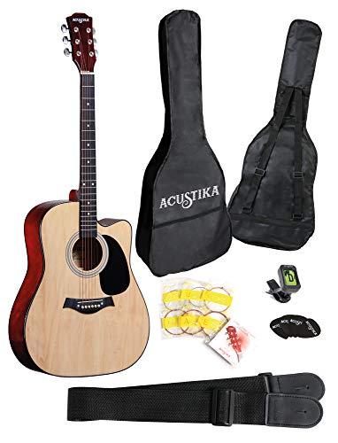 """ACUSTIKA F315 Chitarra Acustica - Chitarra Acustica cut-away misura 41"""" (105x40x10) cm in Legno - 6 Corde in Acciaio, colore Natural."""