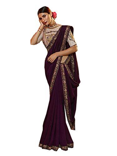 Vino Cachemira Seda Festival Saree Mujer Elegente Preciosa Sari Musulmana Diwali Ocasional Blusa India