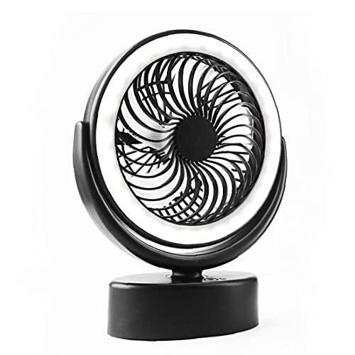 YepYes Ventilador de Ventilador de Tienda 3000mAh Fan de Acampada con Pilas con LED LED Tienda Luz Colgante Hook Negro Hogar Darden