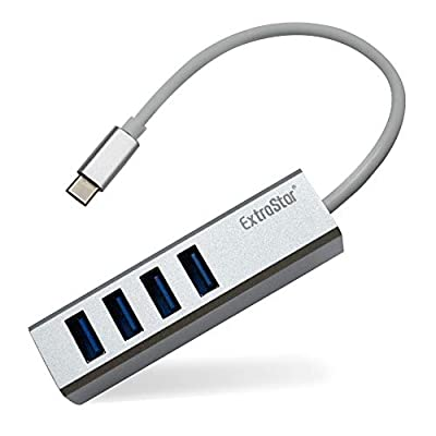 EXTRASTAR USB C Hub, 5V/2A High Speed Aluminum 5 IN 1 Type C Adapter with 4 USB 3.0 Ports and 1 Micro USB port, Portable Extension Data Hub Compatible with MacBook, WIN, Linux - Silver/18cm