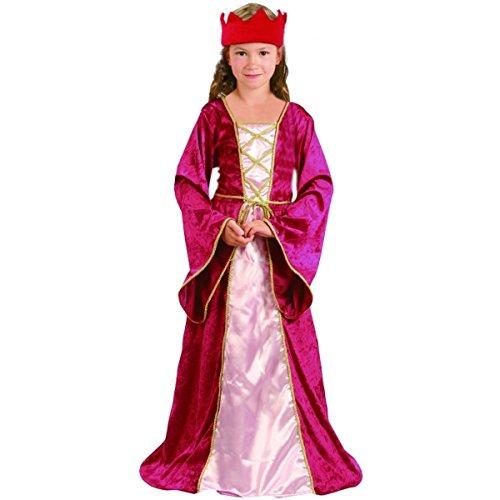 Vegaoo - Disfraz de Reina Medieval para niña - S 4-6 años (110-120 cm)