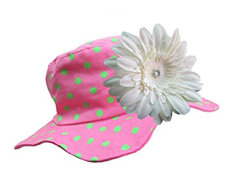 Jamie Rae Hats - Candy Pink with Aloe Dots Sun Hat with White Daisy, Size: 4-6Y