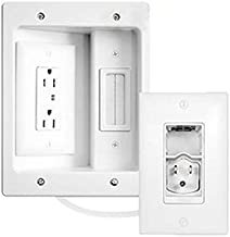 Legrand - On-Q 16314 HT2202WHV1 In-Wall TV Power & Cable Management Kit, Hides Power & AV Cables for Clean, Clutter-Free Installation - White