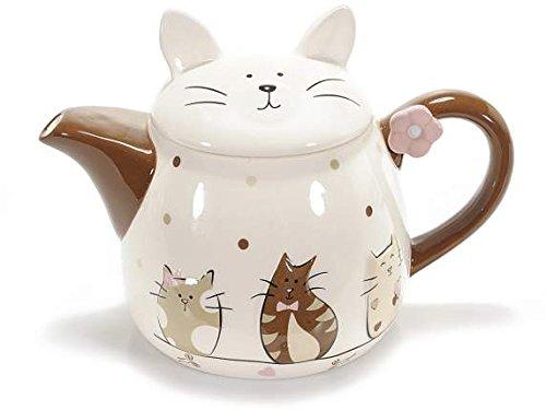 Ideapiu Teiera in Ceramica Colorata con decori Gatti