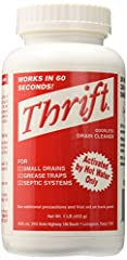 This product is highly durable This product adds a great value This product is manufactured in United states THRIFT is the only four-solutions-in-one product that works on drains, sewer lines, grease traps and septic systems THRIFT will clean out a d...