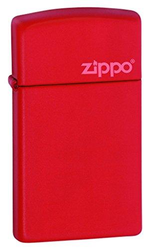 Zippo Red Slim Matte Logo Mechero, Metal, Rojo, 3.5x1x5.5 cm