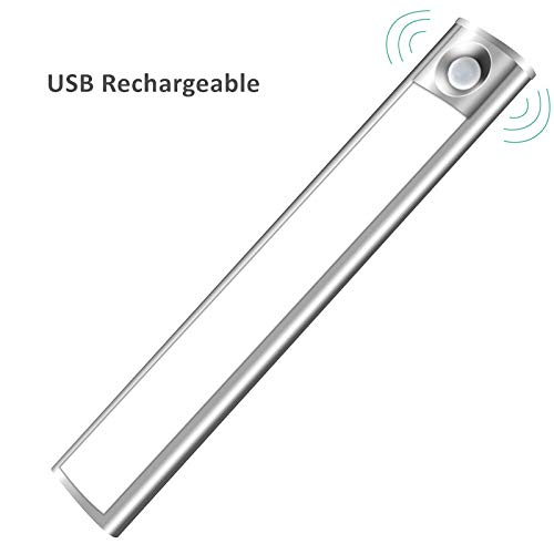 LED Under Cabinet Light, 33 LED Rechargeable Motion Sensor Closet Light Wireless Luxury Aluminum Night Lighting for Kitchen Cabinet, Closet, Wardrobe, 2 Sensor Mode (Only Motion, Motion & Light)