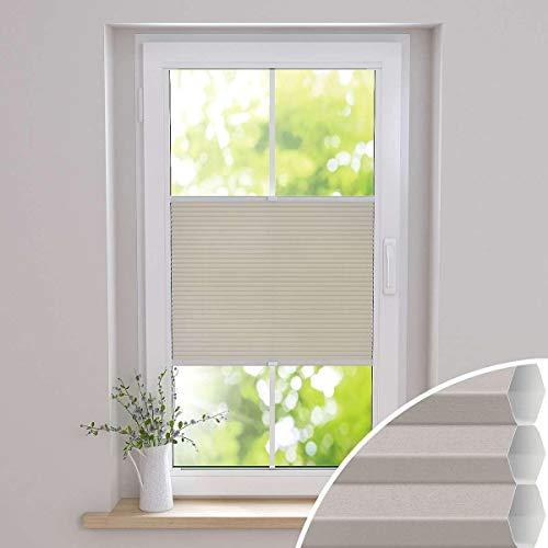 Gardinen21 Duette Wabenplissee nach Maß in der Glasleiste mit Montage   Waben-Plissee mit Bohren im Wunschmaß   Maßgefertigt für Türen & Fenster   Lichtdurchlässig, Sichtschutz und Schallschutz
