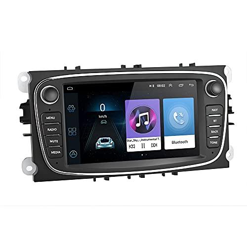 Hikity Android Auto Radio Fit 7 pollici per Ford Focus Mondeo Kuga Galaxy C-MAX S-MAX Touchscreen con GPS WIFI FM Bluetooth Supporto Collegamento a specchio + Macchina fotografica di backup(Nero)