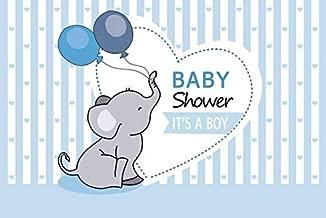 Yeele 5x3ft Vinyl Background for Photography Boy Born Baby Shower Little Elephant Balloon Stripe Photo Backdrop Party Decoration Banner Newborn Birth Portrait Booth Shoot Studio Props