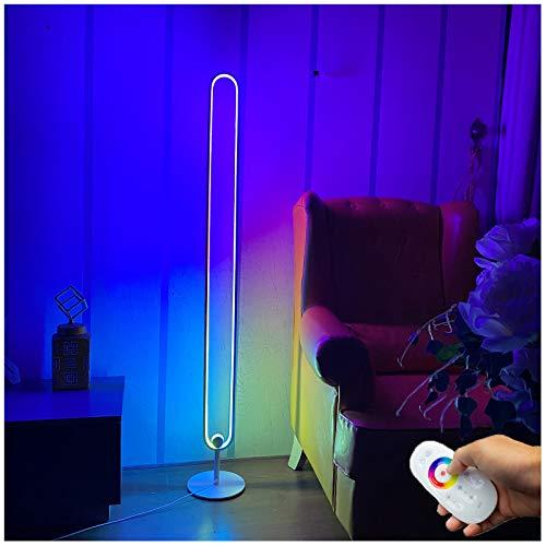 MEILINL Moderna LED Lámpara de Pie RGB Regulable con Control Remoto Color Lámpara de Suelo Luz 30W Estilo Minimalista, Nordico Lámpara de Esquina 140cm
