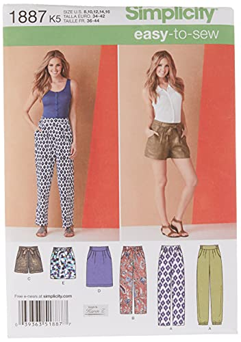 Simplicity US1887K5 Easy to Sew Women's Pants, Shorts, and Skirt Sewing Pattern Kit by Karen Z, Code 1887, Sizes 8-16