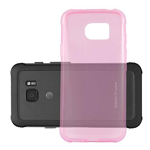 Preisvergleich Produktbild Cadorabo Hülle für Samsung Galaxy S7 Active in TRANSPARENT PINK - Handyhülle aus flexiblem TPU Silikon - Silikonhülle Schutzhülle Ultra Slim Soft Back Cover Case Bumper