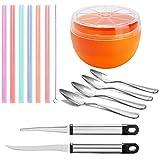 Grapefruit-Löffel, Messer-Schüssel-Set – beinhaltet gebogene Grapefruit-Messer, Obstlöffel, Grapefruit-Saver und andere (14 Stück)