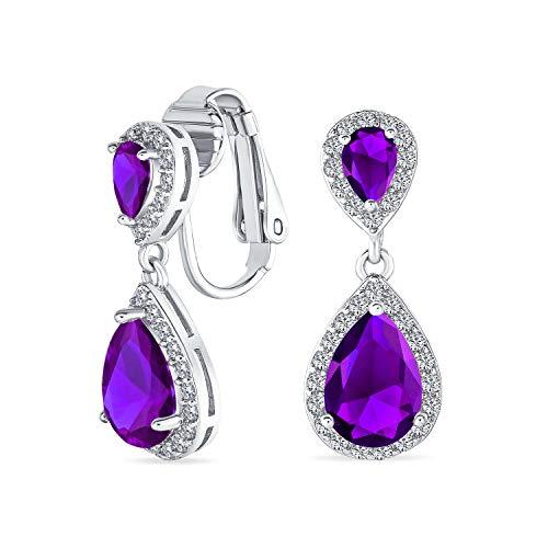 Lavendel Teardrop Cz Halo Prom Drop Statement Clip Auf Ohrringe Simuliert Alexandrit Cubic Zirkonia Silber Vergoldet Messing