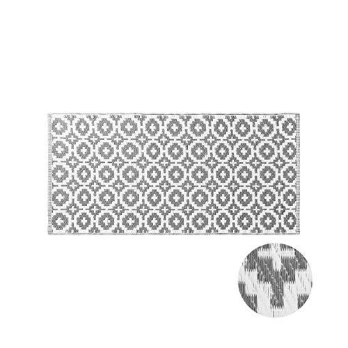 Butlers Colour Clash 140x70 cm Outdoorläufer Mosaik - Taupe-weißer Teppich - für Balkon und Terrasse geeignet - auch für Indoor - Ornamente in Mosaikform