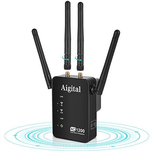 1200Mbps Extensor de Rango de Repetidor WiFi de Banda Dual, Amplificador Señal WiFi con 4 Antenas Externas, Puerto Ethernet, AC1200, Modo Ap/Enrutador/Repeater Compatible-Fácil instalación(WN539)