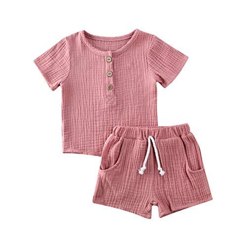Kleinkind Baby Mädchen Jungen Shorts Set Sommer Outfit Baumwolle Leinen Ärmellos Button Down T-Shirt Top Kurze Hose Einfarbige Kleidung (Pink, 3-4 Years)