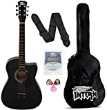 Intern INT-38C-BK-G Cutaway Right Handed Acoustic Guitar Kit, With Bag, Strings, Pick And Strap (Black, 6 Strings)