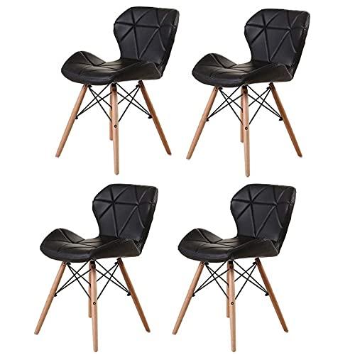 Esszimmerstühle 4er Set,Wohnzimmer Chair,PU Synthetic Leather Sitzkissen Buchenholz-Beinen esstisch stühle,Moderne Küche Dining Stuhl (schwarz)
