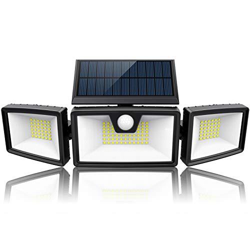 2020 Newest   Bright Solar Flood Lights Outdoor Motion Sensor w/ 3 Work Modes, 3 Adjustable Head, Wider Lighting Range. Waterproof Solar Security Light for Outside Wall Garden(1500LM, 132 LED, 5500K)