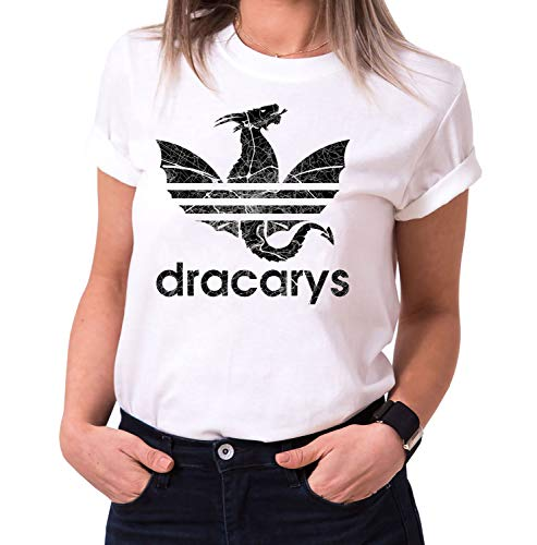 Dracarys Vero - Camiseta para Mujer de Cuello Redondo Targaryen Thrones Game of Stark Lannister Baratheon Daenerys Khaleesi TV BLU-Ray DVD, Größe2:X-Large, Farbe2:Blanco