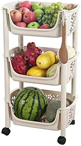 Pequeño estante para carrito de cocina, muebles de varias capas, para sala, aperitivos, frutas y verduras, puede moverse (color: beige-3 niveles)