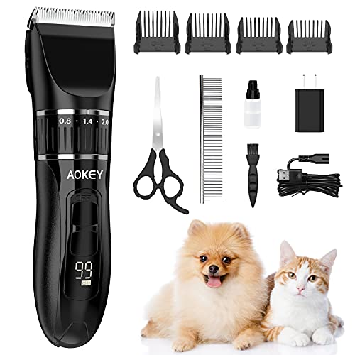 AOKEY Schermaschine Hunde, 2500mAh Kabellos Tierhaarschneider, Schnurlosen wiederaufladbare Elektrische Haarschneider mit 4 Kamm, Schneidemaschine für Alle Haustier