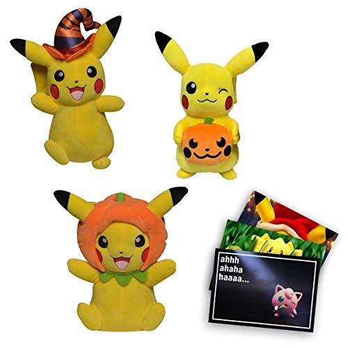 Lively Moments Pokemon Plüschtiere ca. 20 cm Halloween Edition Pikachu Plüschfiguren Set und Exklusive GRATIS Grußkarte