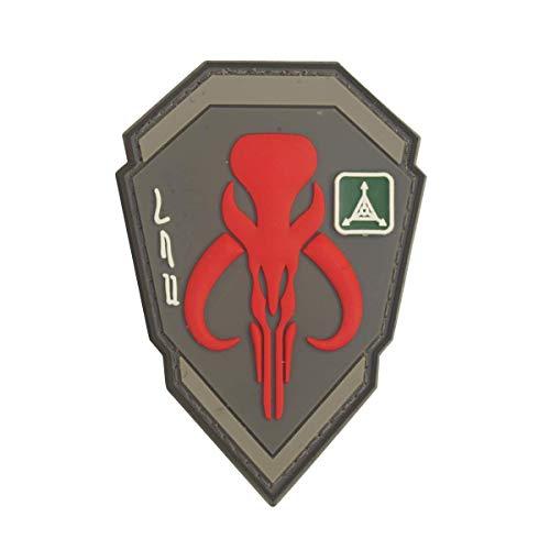 Cobra Tactical Solutions Kopfgeldjäger Boba Fett Mandalorian Bantha Schädel Star Wars Rot Film PVC Patch mit Klettverschluss für Airsoft Paintball für Taktische Kleidung Rucksack Star Wars